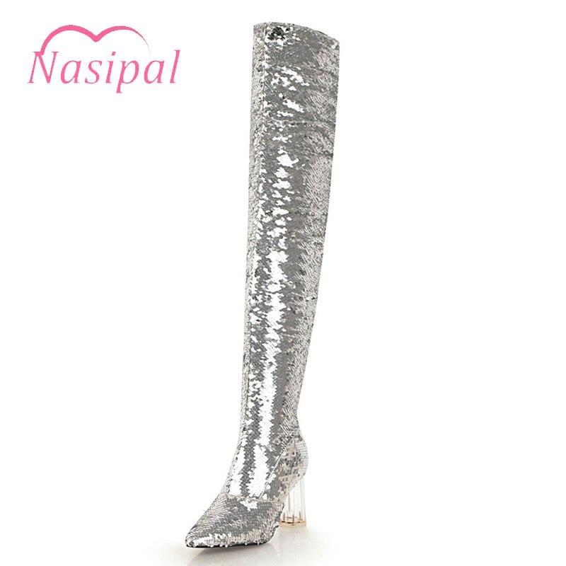 Nasipal 2018 Nouveau automne hiver femme or argent bottes sur le genou cuisse haute bottes bling bling sexy talons hauts paillettes tissu