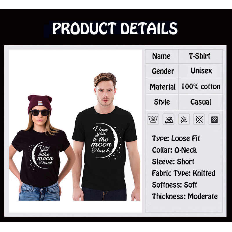 fae094b3fc ... EnjoytheSpirit Couple Tshirt Love You To The Moon and Back Couples  Matching Funny T-shirt ...