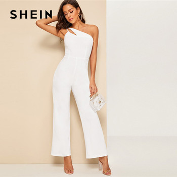 SHEIN Glamorous Double Strappy One Shoulder Wide Leg Jumpsuit Women Elegant White Jumpsuit Sleeveless High Waist Summer Jumpsuit
