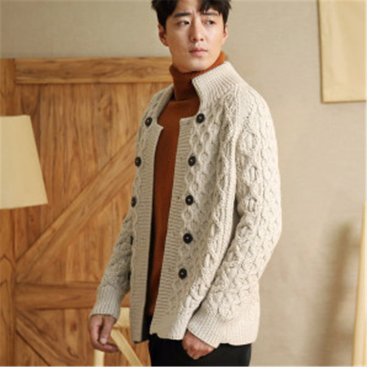 100% Hand Made Pure Wool Stand Collar Knit Men Fashion H-straight Double Breasted Short Cardigan Sweater Coat One&over Size