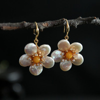 Manual original natural abnormity beeswax fashion new earrings ears hang wholesale pearl flowers