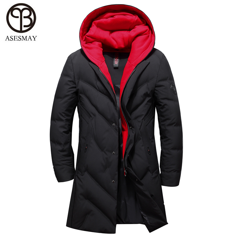 Asesmay 2018 winter   down   jacket men's clothing high quality white duck   down     coats   removable hat thickening goose feather parkas