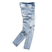 Fashion Men's Jeans Slim Feet Pierced Jeans Casual Light Blue Long Jeans Large Size newspapers pattern narrow feet jeans