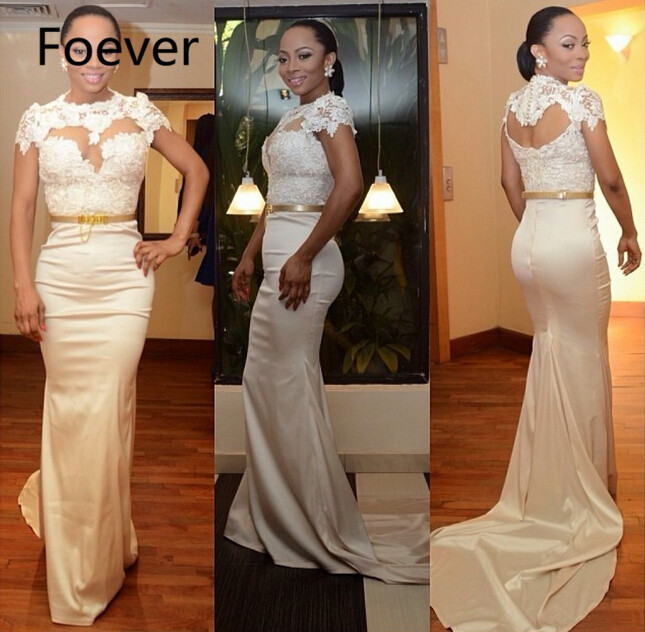 Long   Prom     Dress   2019 New Arrival Formal   Dresses   Party Sexy Court Train Elastic Satin Sheer Neck Evening Gowns