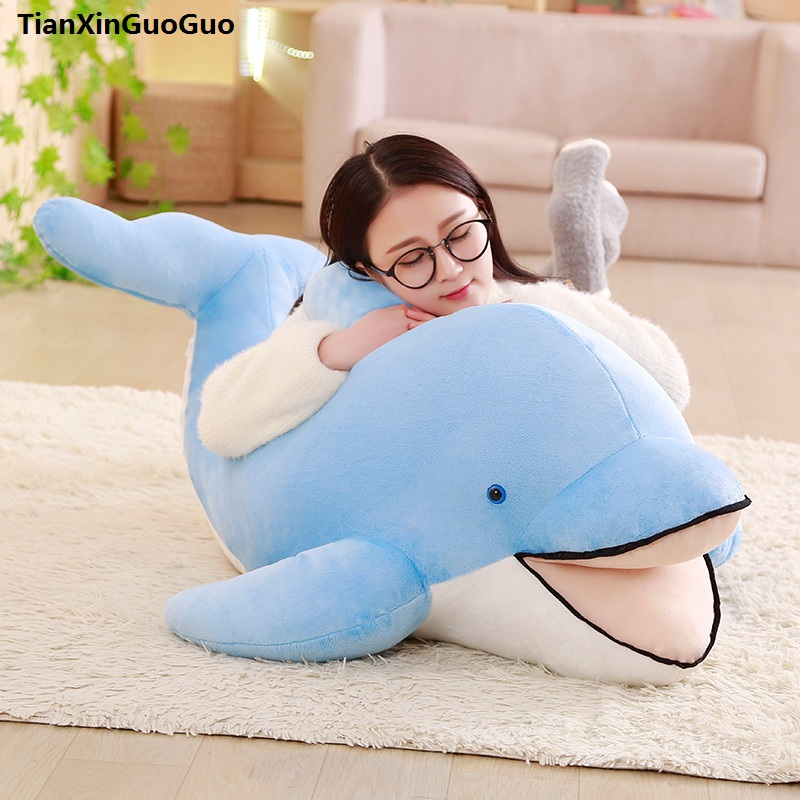 stuffed plush toy large 100cm lovely blue dolphin opening mouth plush toy soft doll sleeping pillow birthday gift s0402 stuffed animal 90 cm plush dolphin toy doll pink or blue colour great gift free shipping w166