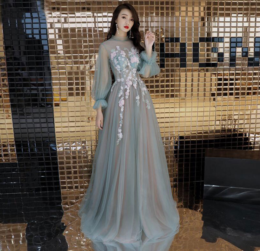 Women's Long Evening Dress Special Appliques  Flowers Formal Party Dresses Back Lace Up Bow Mesh Sleeve Long Party Gown
