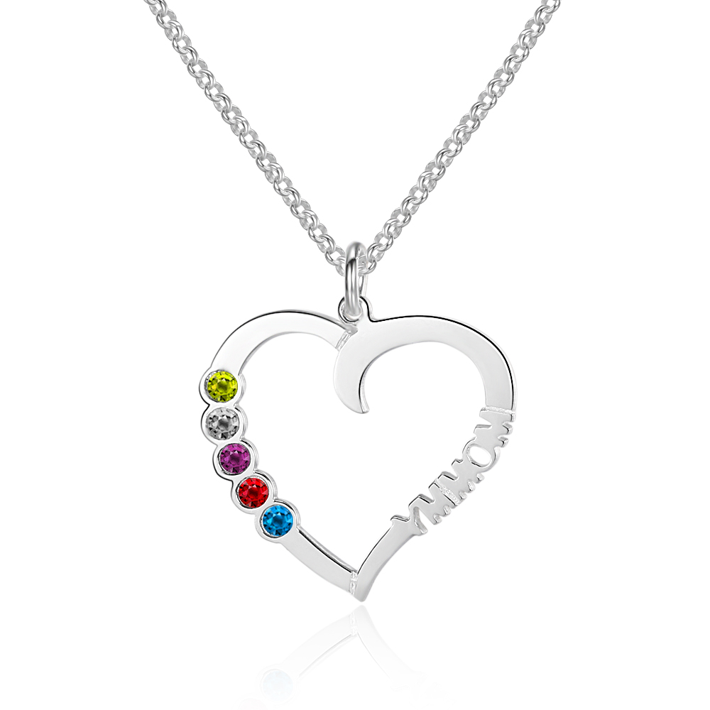 925 Sterling Silver Jewelry Heart Shape Birthstone Personalized Pendants Necklaces Women Name Necklace (NE101556)