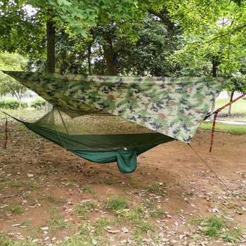 Outdoor Pop-Up Netting Hammock Tent With Waterproof Canopy Awning Set  Automatic Quick Opening Mosquito Free Hammock Portable 4