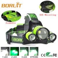 BORUIT B22 XM-L2 + 2X XPE LED Recarregável Zoomable Farol lâmpada Cabeça Verde Micro USB Farol Pesca Cabeça Da Tocha Luz