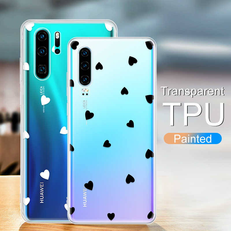 Cute Heart Phone Case For Huawei P Smart 2019 Y9 Y6 Pro Y7 Prime P Smart Plus 2019 P30 Lite Pro Trendy Printed Cover Coque Capa