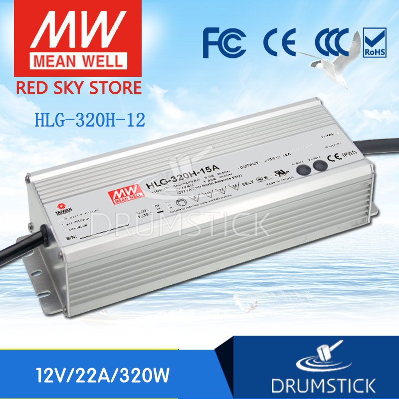 Hot sale MEAN WELL HLG-320H-12 12V 22A meanwell HLG-320H 12V 264W Single Output LED Driver Power Supply genuine mean well hlg 320h 36b 36v 8 9a hlg 320h 36v 320 4w single output led driver power supply b type