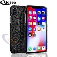 Qosea Voor iPhone X Case Luxe Krokodillenleer Gedrukt 3D krokodil huid Ontwerp Hard Lederen Case Voor iPhone X 8 Telefoon Terug Cover