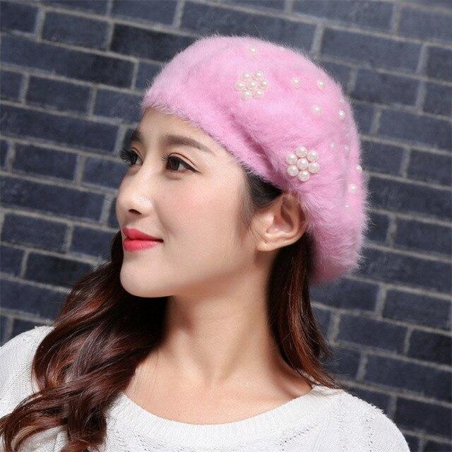 e03a7c0eb6e Women Rabbit Fur Beret Hat Faux Pearl White Black Womens Hats Female Winter Cap  Hat 021