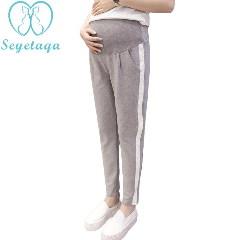 4c1ffa22d 063  2017 Otoño de maternidad de moda Deporte Pantalones elásticos de la cintura  del vientre Pantalones Casual ropa para mujeres embarazadas pantalones de  ...