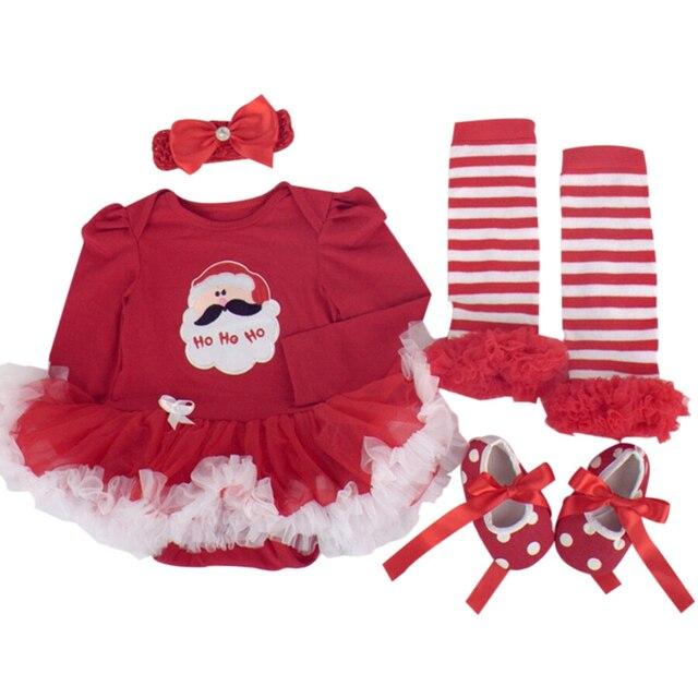 3e0761ade3d1 4PCs per Set Baby Girls Christmas Outfits Santa Ho Ho Ho Tutu Dress  Headband Shoes Leggings for 0-12months Free Shipping