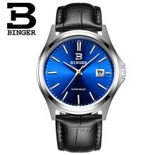 Синий Binger Наручные Часы Relojes Hombre 2016 Марка Серебро Повседневная Кварцевые Часы Моды Кожа Женева Мужчины Роскошные Часы