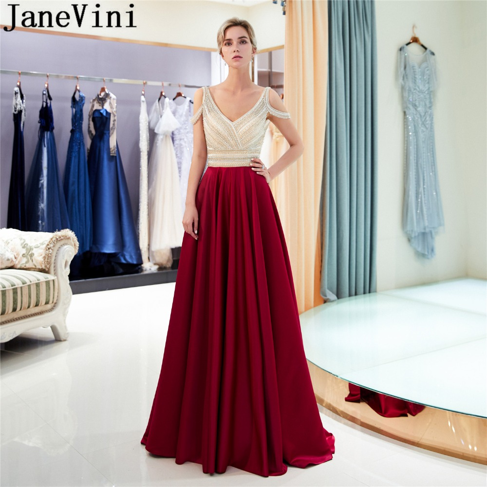 JaneVini Luxury Beading Burgundy   Prom     Dresses   Long 2019 Woman Formal Party   Dress   Crystal Satin Gowns Vestidos Cerimonia Longos