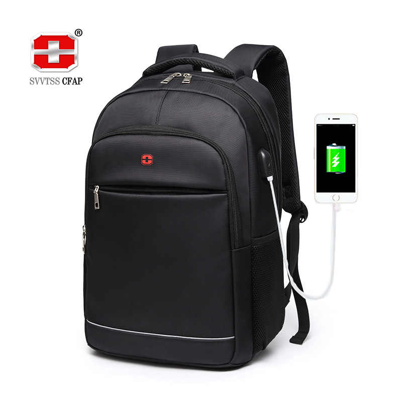 Charging USB teens School Bags for Teenage Boys Backpack men nylon black solid High Quality student SchoolBag Preppy Style 2019