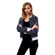 Women Jacket Spring and Summer 2019 Striped Zipper Full Baseball Casual Coats Jackets Denim