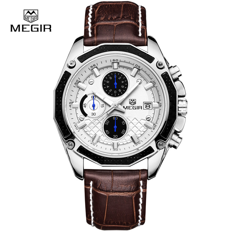 Authentic MEGIR Quartz Male Watches Genuine Leather Watches Racing Men Students Game Run Chronograph Watch Male Glow Hands genuine break quartz male watches genuine leather watches racing men students game run chronograph watch male glow hands