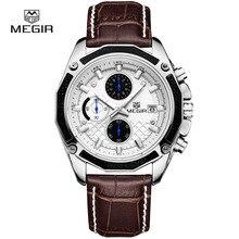 Authentique MEGIR quartz mâle montres Véritable En Cuir montres racing hommes Étudiants Course des Chronographe Montre mâle les mains lueur
