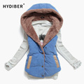 2016 Autumn Winter Women Sleeveless Coat Plus Size Slim Cotton Hooded Jackets Women's Top