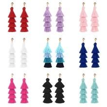 Fashion Tassels Long Earrings Women Bohemian Multilayer Dangle