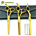 "6"" gold hair scissors hairdressing scissors kit cheap professional hair dressing scissors barber shop hair cut diy haircutter"