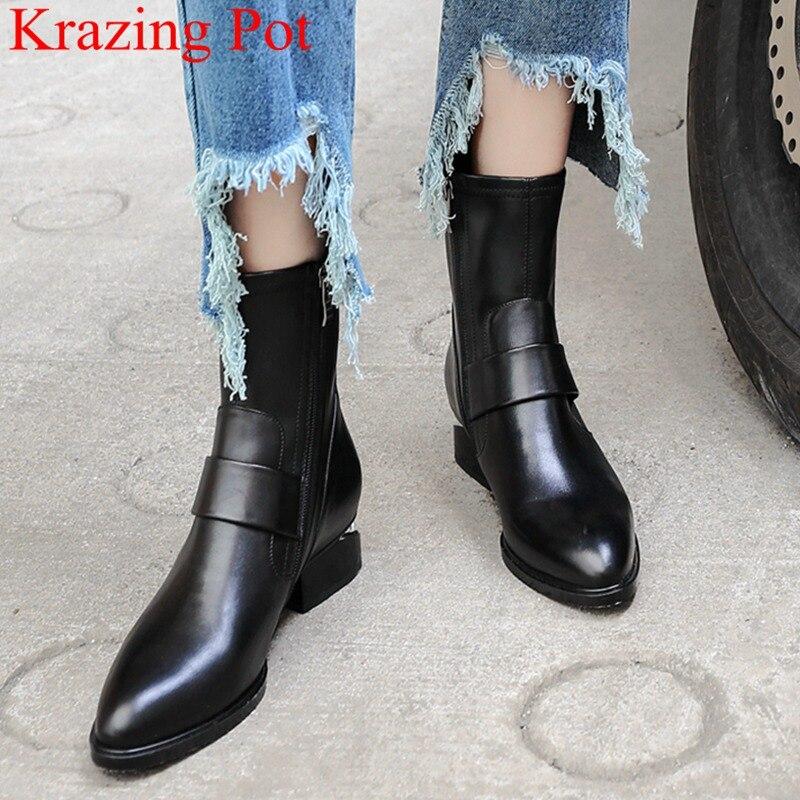 2018 moda talla grande estilo extraño cuero genuino cremallera tobillo botas elegantes punta redonda motocicleta botas zapatos de invierno L2f7-in Botas hasta el tobillo from zapatos    1
