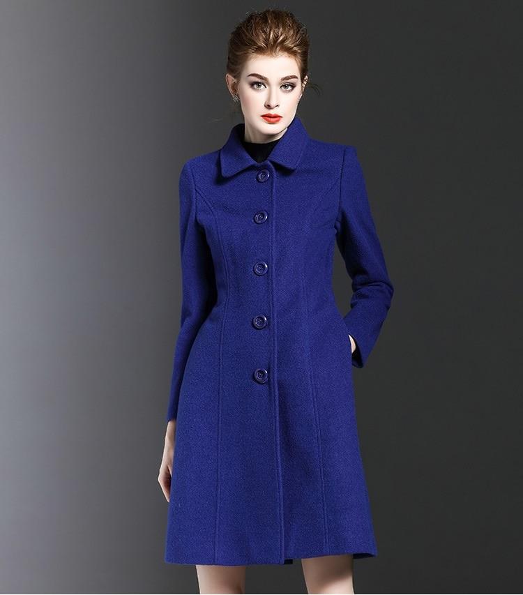 Winter Fashion Casual Women Wool Coat Blue Long Female Outerwear ...