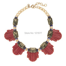 Brand Designer Statement Flower Maxi Collar Resin Chunky Crystal Gem Stone Bib Wedding Jewelry Women Accessories Bijoux cc