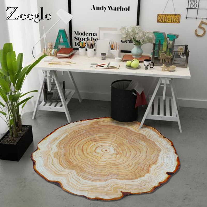 Zeegle Tree Ring Round Carpet Rugs For Living Room Child Carpet Bedoom Non-slip Floor Rug Computer Chair Mat For Kids Room