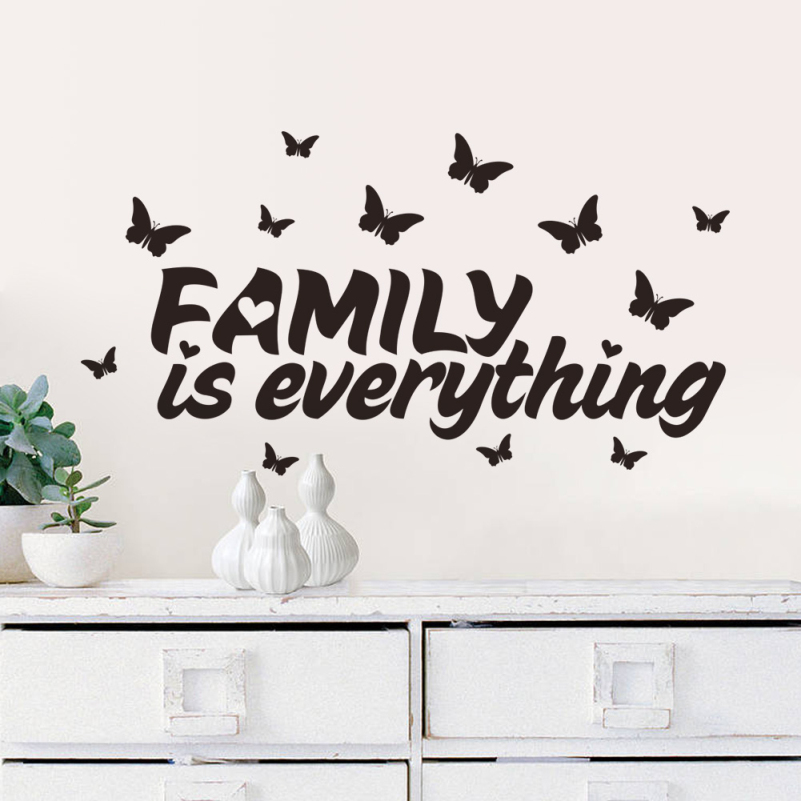 New Home Decor Butterfly Family Is Everything Quote Wall Stickers