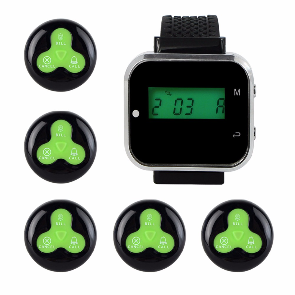 433.92MHz Watch Wrist Receiver Host +5pcs Call Transmitter Button Pager for Wireless Calling System F3294A service call bell pager system 4pcs of wrist watch receiver and 20pcs table buzzer button with single key