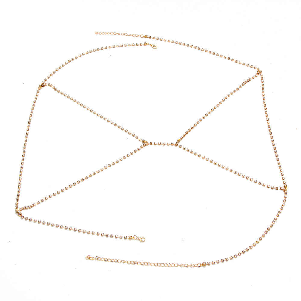 Sexy Crystal Chains Necklace Gold Color Rhinestones Belly Chain Belt Bra Harness Sparkle Beach Bikini Body Jewelry For Women