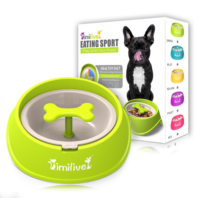fun bone shaped slow feeder dog food bowls water bowl dishes for