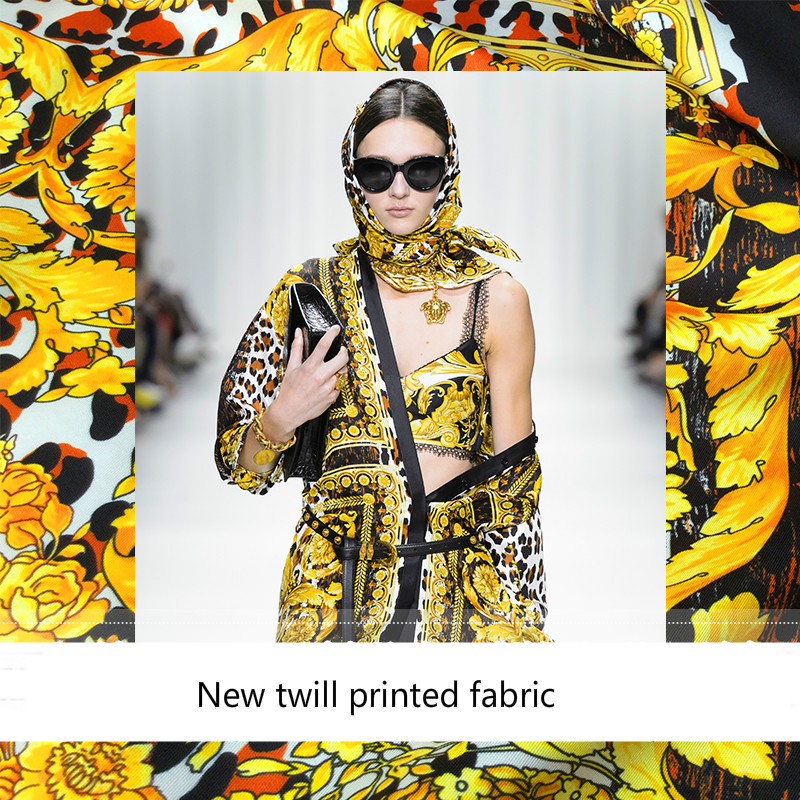 New Leopard Palace Court Twill Silk Fashion Printing Fabric Advanced Digital Printing Polyester Fashion Cloth Factory