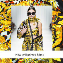 New Leopard Palace Court Twill Silk Fashion Printing Fabric Advanced Digital Printing Polyester Fashion Cloth Factory Direct