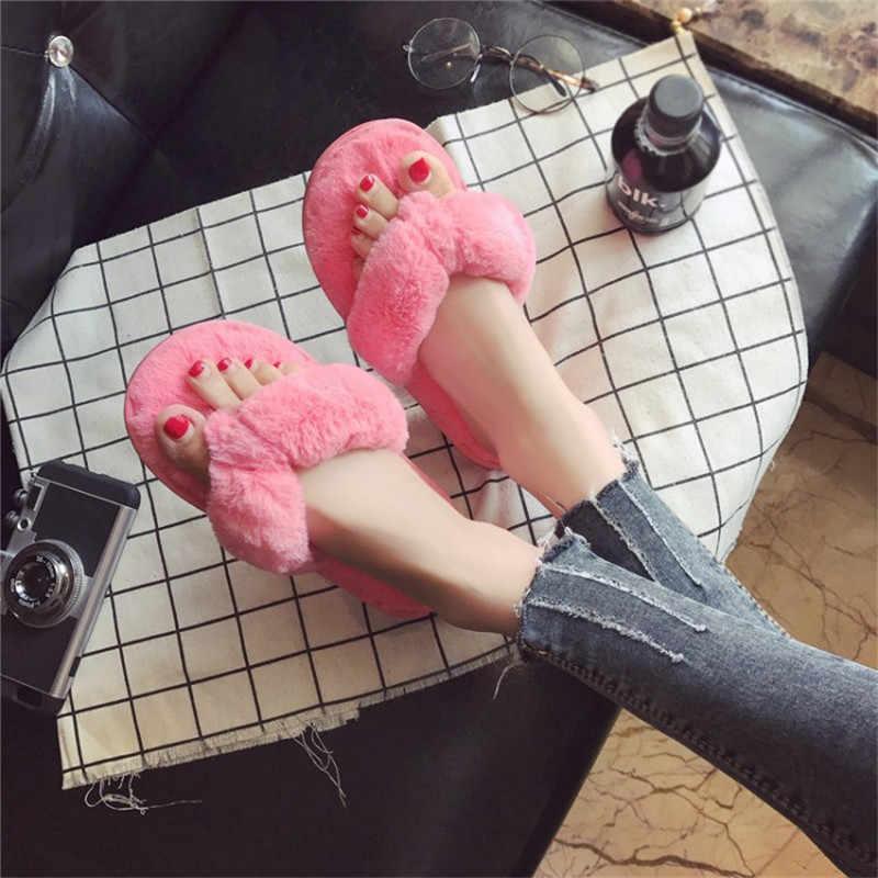COOTELILI חורף אופנה נשים בית כפכפים פו פרווה חם נעלי אישה להחליק על דירות נקבה פרווה כפכפים ורוד בתוספת גודל 36-41