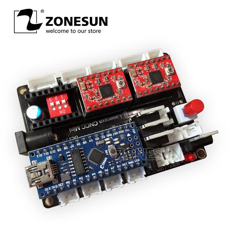ZONESUN DIY Desktop Laser Engraving Machine Marking Machine Carving Machine 3 Axis Micro Step Motor Drive Control Motherboard