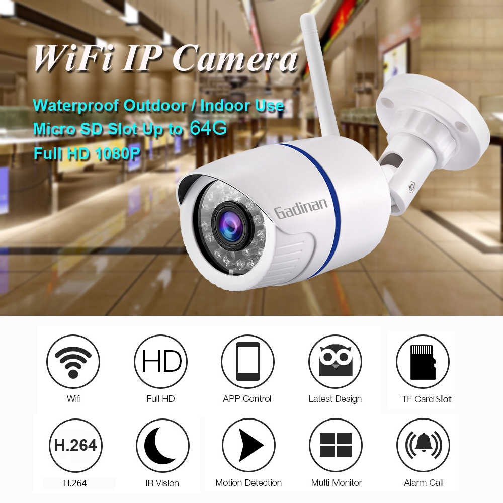 GADINAN HD 1080 P 720 P Беспроводная ip-камера P2P RTSP с обнаружением движения Водонепроницаемая WiFi камера пуля с 64G sd-картой слот iCSee