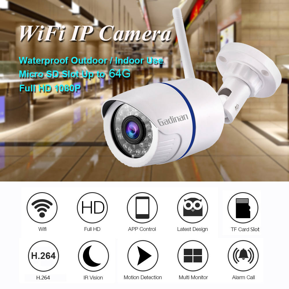 Image 2 - GADINAN HD 1080P 720P Wireless IP Camera P2P RTSP Motion Detected Waterproof WiFi Camera Bullet with 64G SD Card Slot iCSeeSurveillance Cameras   -