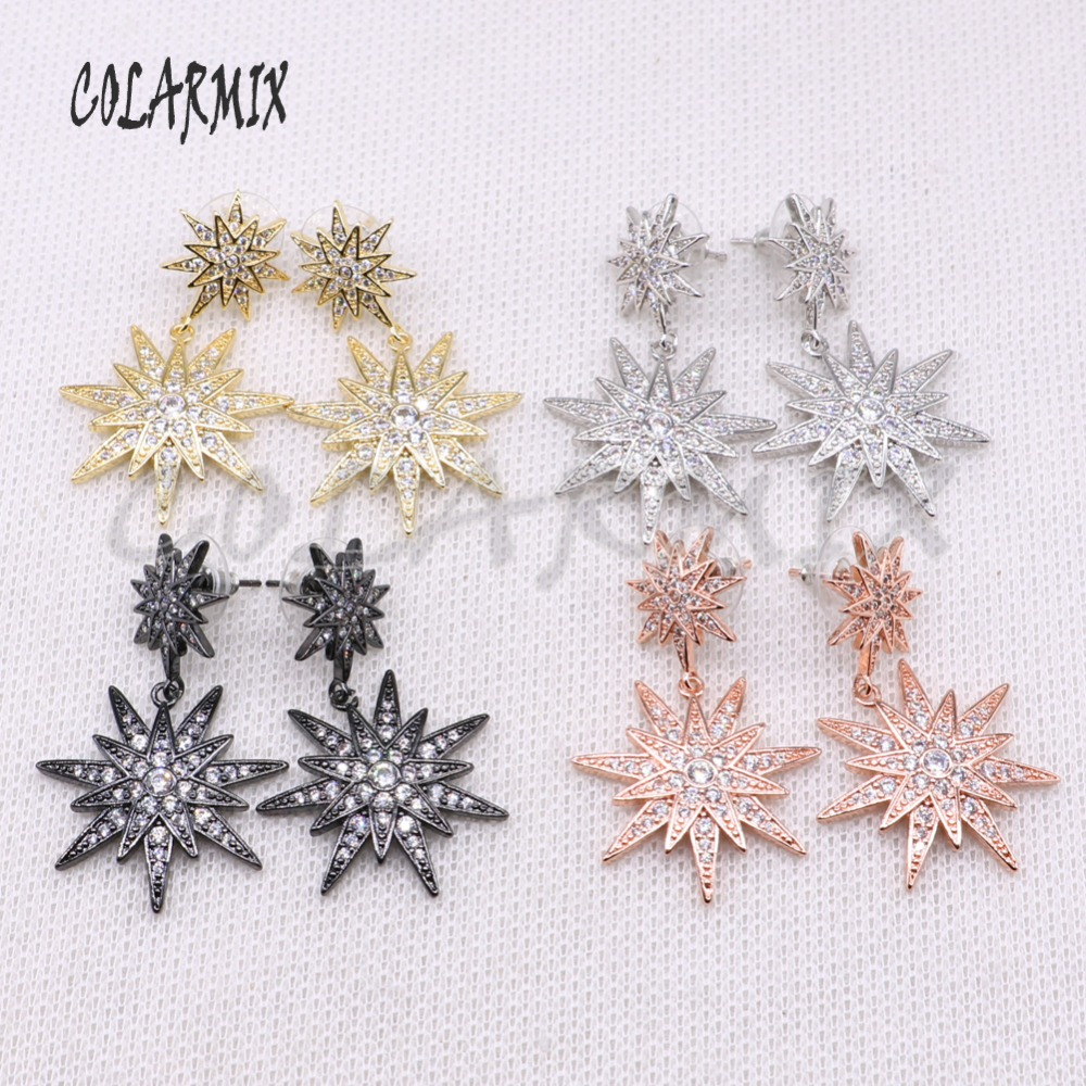 Wholesale  star jewelry earrings mix color earrings micro pave zircon long jewelry earrings Gift for lady 4183