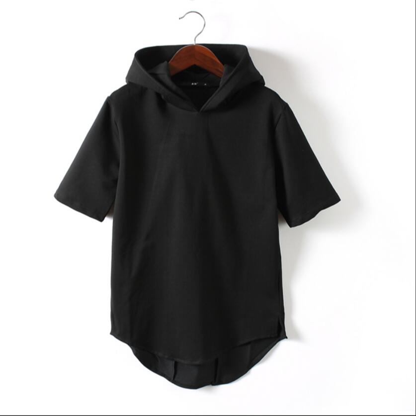 M-4xl New Summer Trendy Men's Half Sleeve Witch Hat Short Sleeve Sweatshirt Men's Black Slim Cotton Short Sleeve Hoodie Costumes