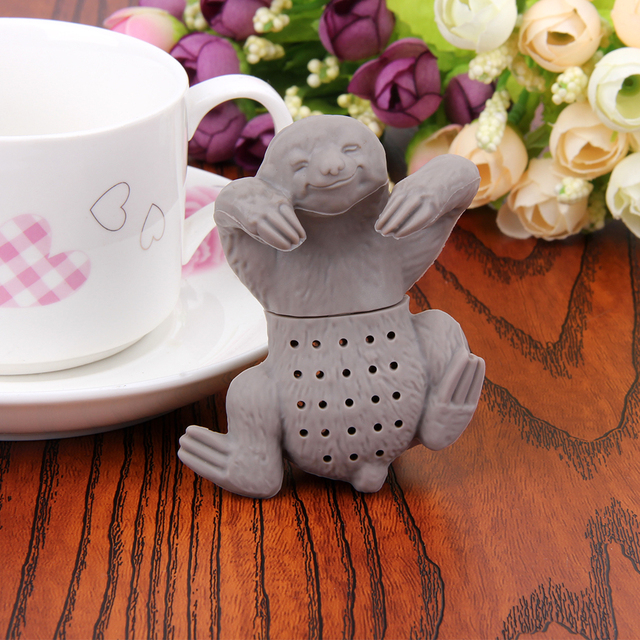 2017 Lazy Sloth Tea Infuser Silicone Reusable Portable Tea Strainer Coffee Herb Filter Empty Tea Bags Loose Leaf