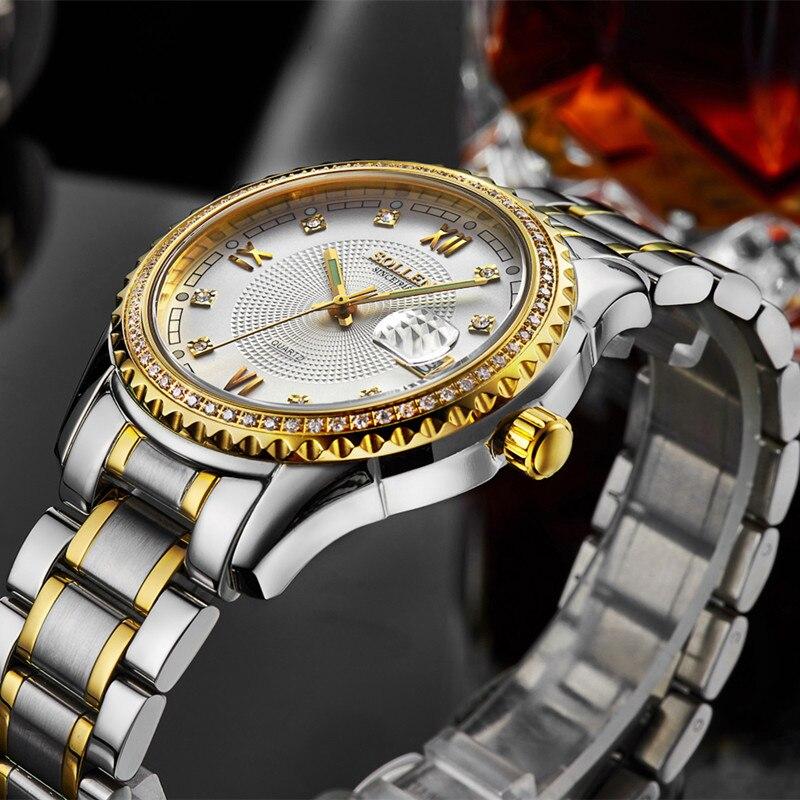 Reloj de pulsera de cuarzo Montre Homme, de marca dorada de lujo, para hombre, relojes impermeables para hombre, reloj de acero inoxidable para negocios - 3