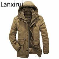 Chaqueta de invierno para hombre, chaqueta informal gruesa de algodón con relleno de menos de 40 grados, cazadora con capucha para hombre, abrigo Parka de talla grande 4XL