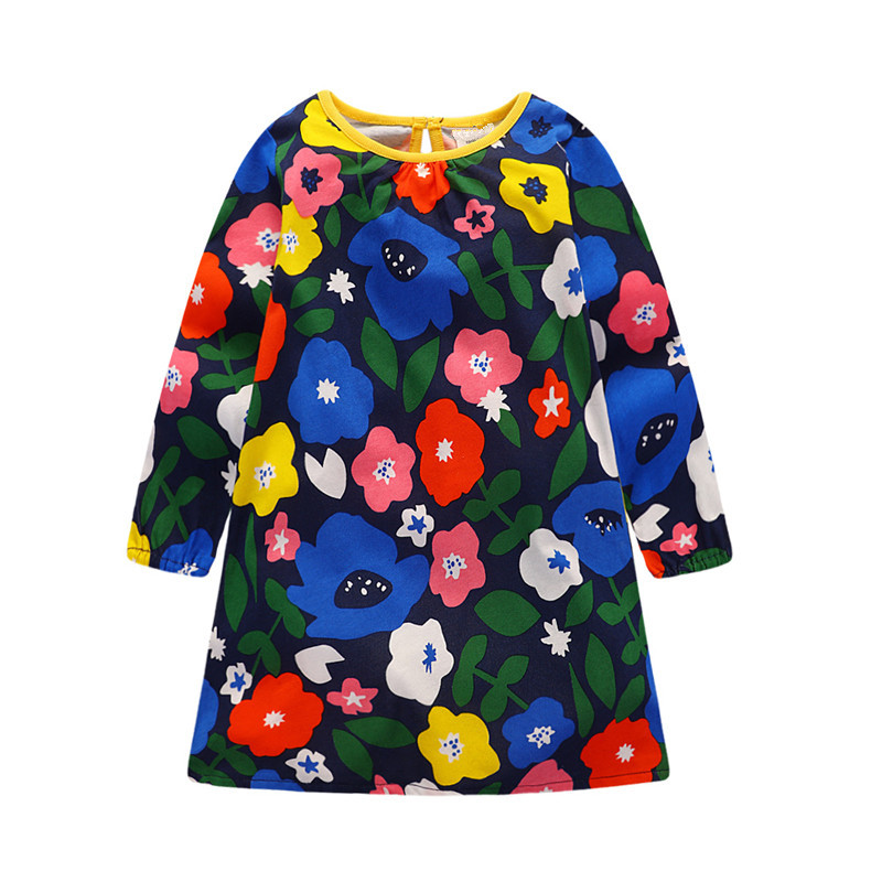 Baby girls top quality autumn dresses long sleeve cute clothing printed flowers kids dress new designed baby girls dress 2017 ilismaba new ladies fashion sexy autumn long sleeved brand dresses high quality printed knitted elastic fabric women s dress