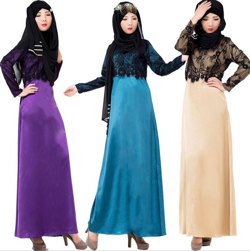Новый Взрослый Мусульманин кружева шить Платья Исламская Мусульман абая Дубай Абая Кафтан Из Бисера поддельные из двух частей платье a450