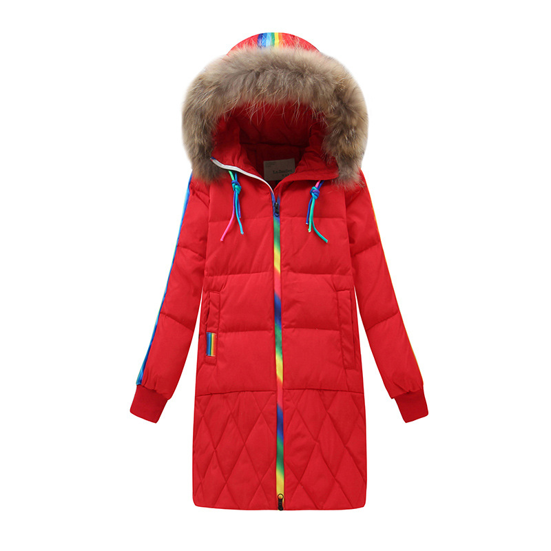 girl winter jacket 2018 kids winter coats long section colorful zipper girls parka coat white duck down hooded children outwear winter girl jacket children parka winter coat duck long thick big fur hooded kids winter jacket girls outerwear for cold 30 c